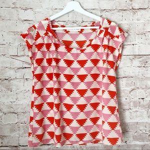 BOUTIQUE   peaches n cream S boho ikat top blouse
